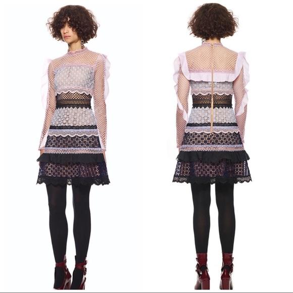 0827e259bf5cf Self-Portrait Dresses   Self Portrait Bellis Lace Trim Dress Sz 2 Xs ...